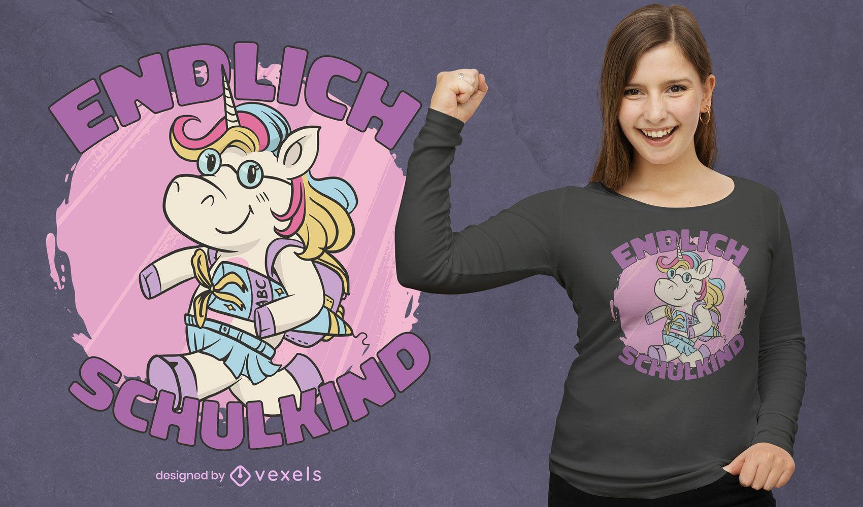 Desenho de camiseta de criança unicórnio indo para a escola
