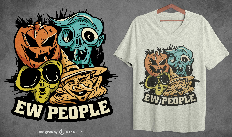 Diseño de camiseta de caras de monstruos de Halloween