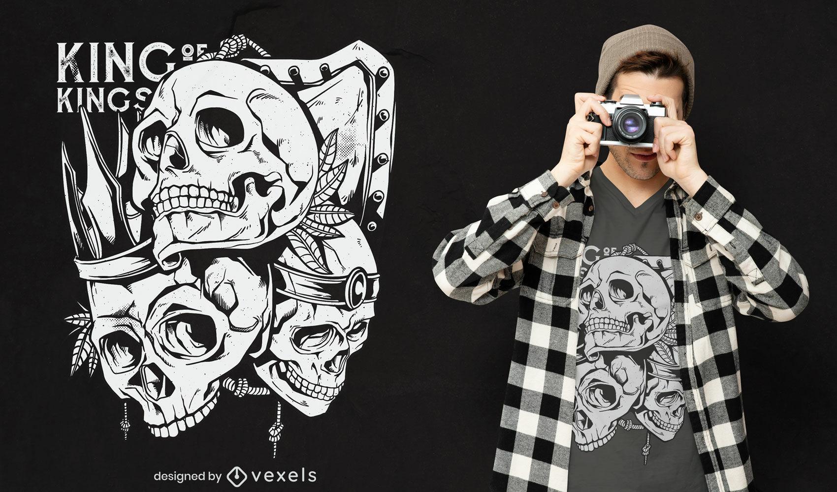 Design de t-shirt com escudo de cr?nio humano de reis