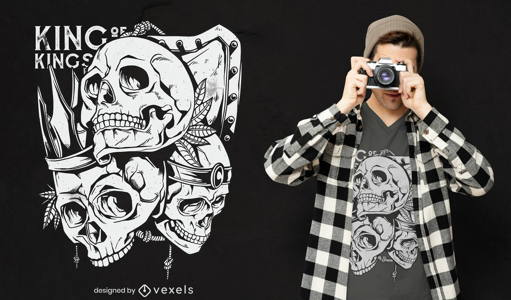 Menschlicher Schädel Könige Schild T-Shirt Design
