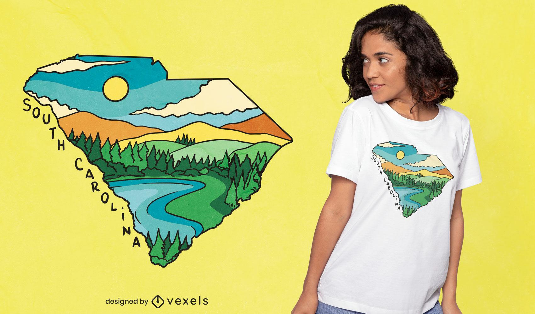T-Shirt-Design mit Karte in South Carolina-Landschaft