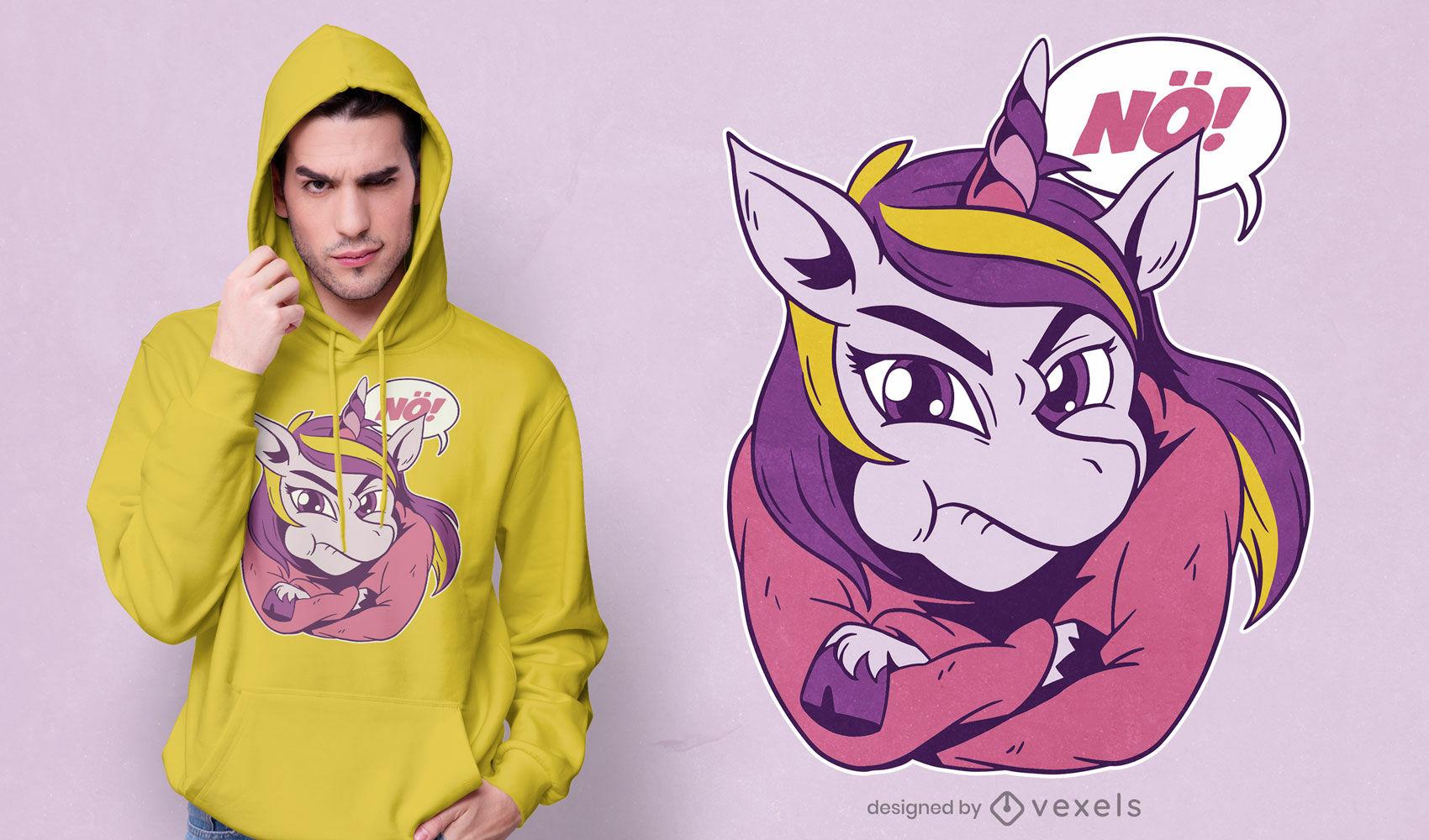 Divertido dise?o de camiseta de unicornio obstinado.