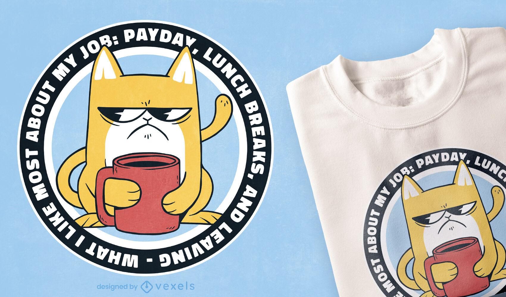 Diseño de camiseta de gato de trabajo gruñón divertido