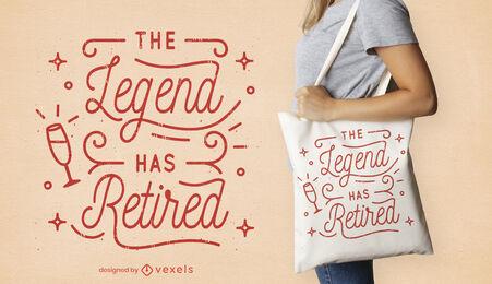 Retirement celebration lettering tote bag design
