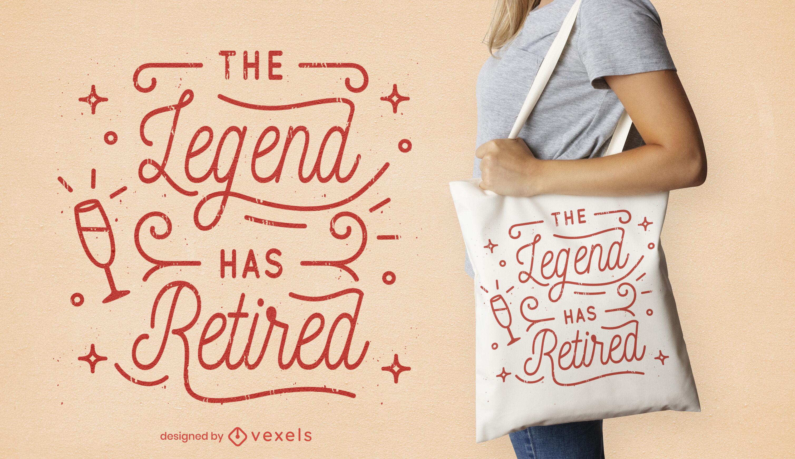 Design de sacola com letras de comemoração de aposentadoria