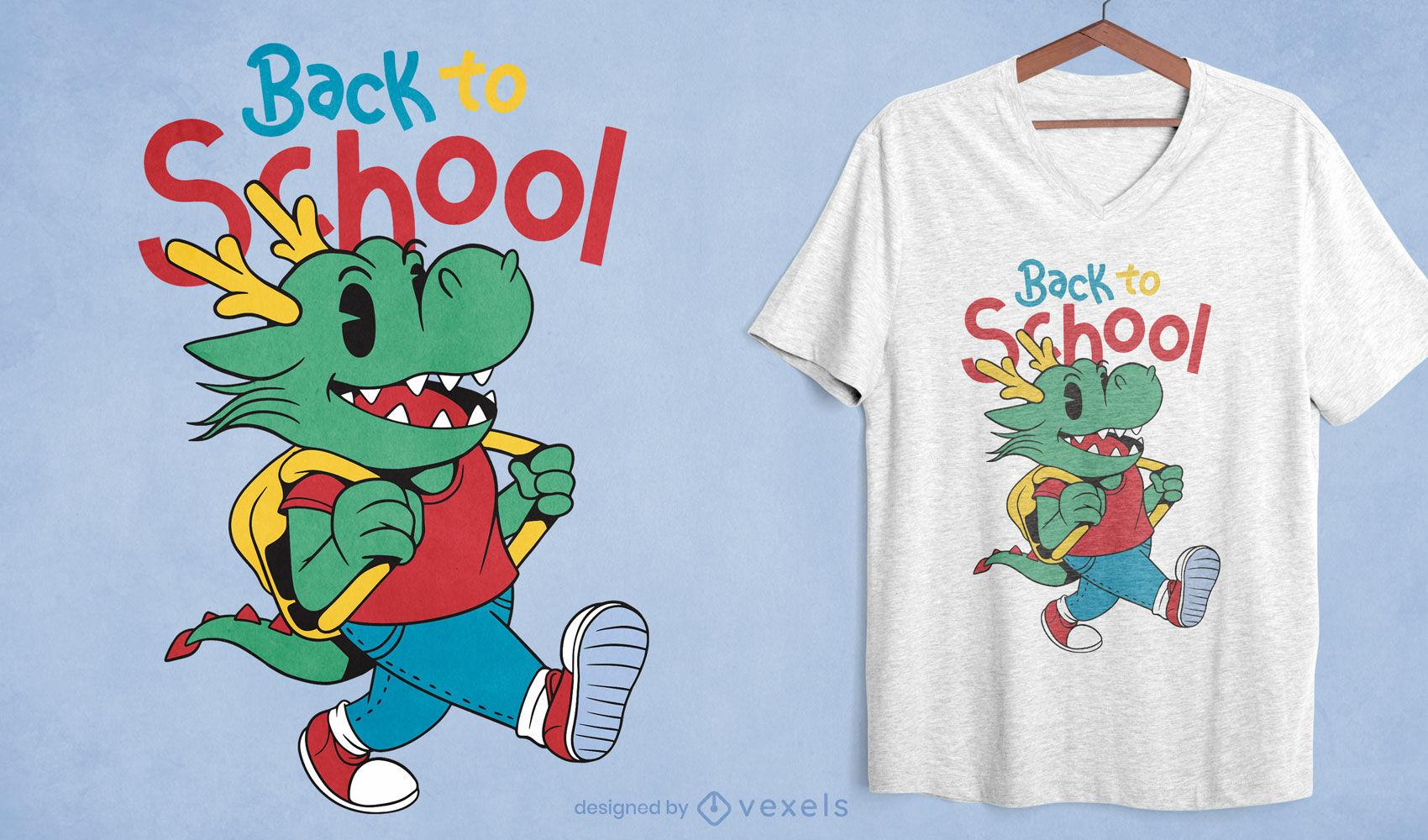 Zurück zu Schule Drachenkarikatur-T-Shirt-Design