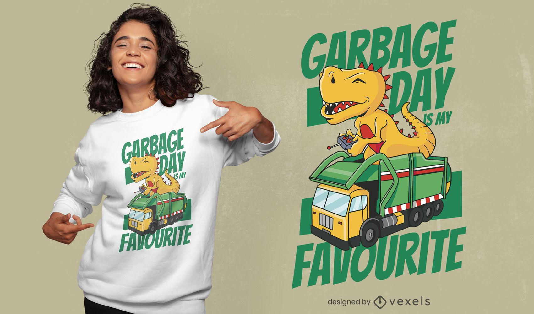 Design fofo de t-rex de lixo