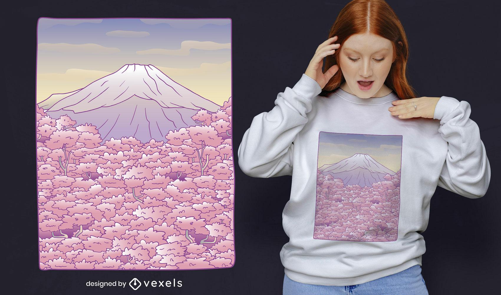Pastellfarbenes T-Shirt-Design des Mount Fuji