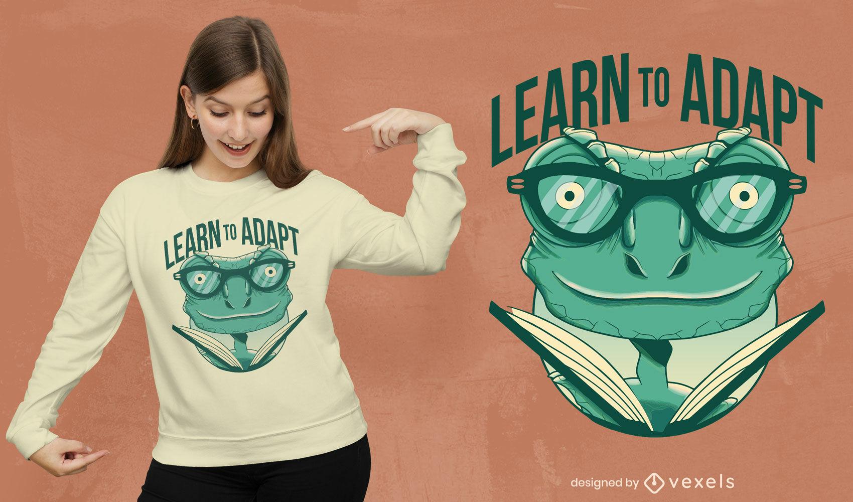 Learn to adapt reading chameleon t-shirt design