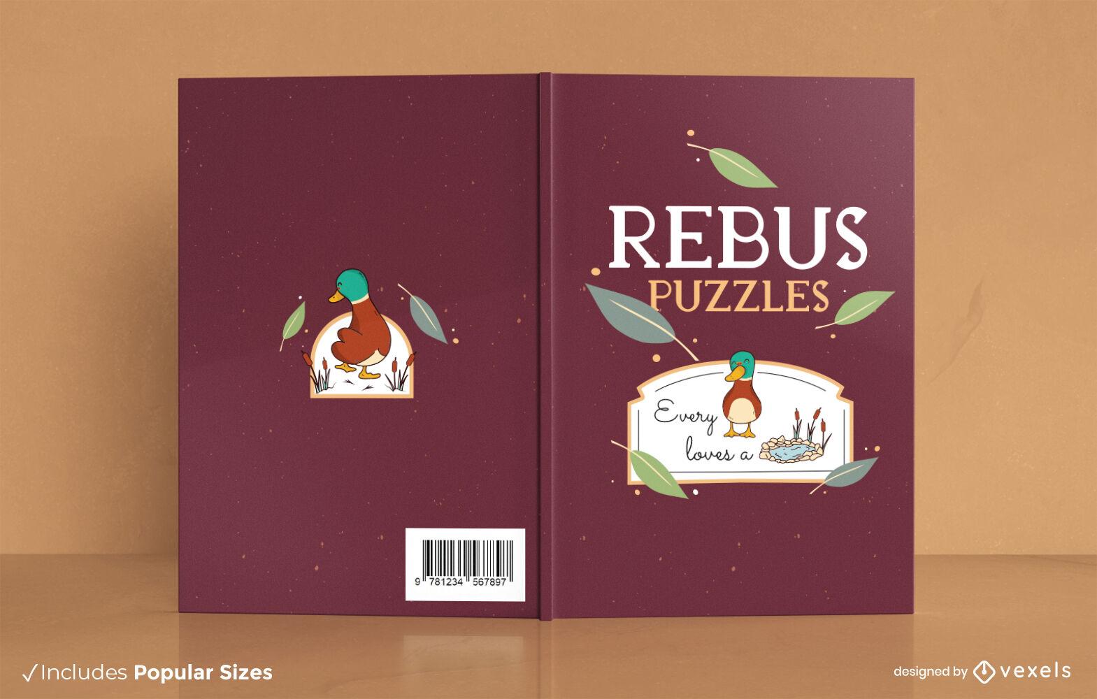 Diseño de portada del libro de actividades de rompecabezas de Rebus