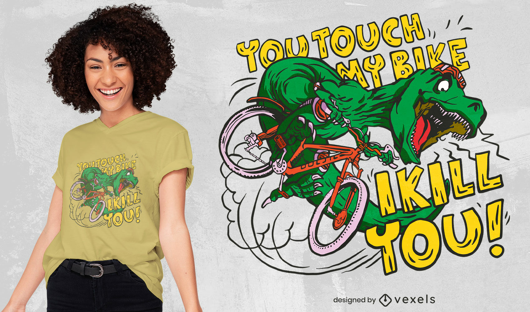 Mad biker t-rex t-shirt design