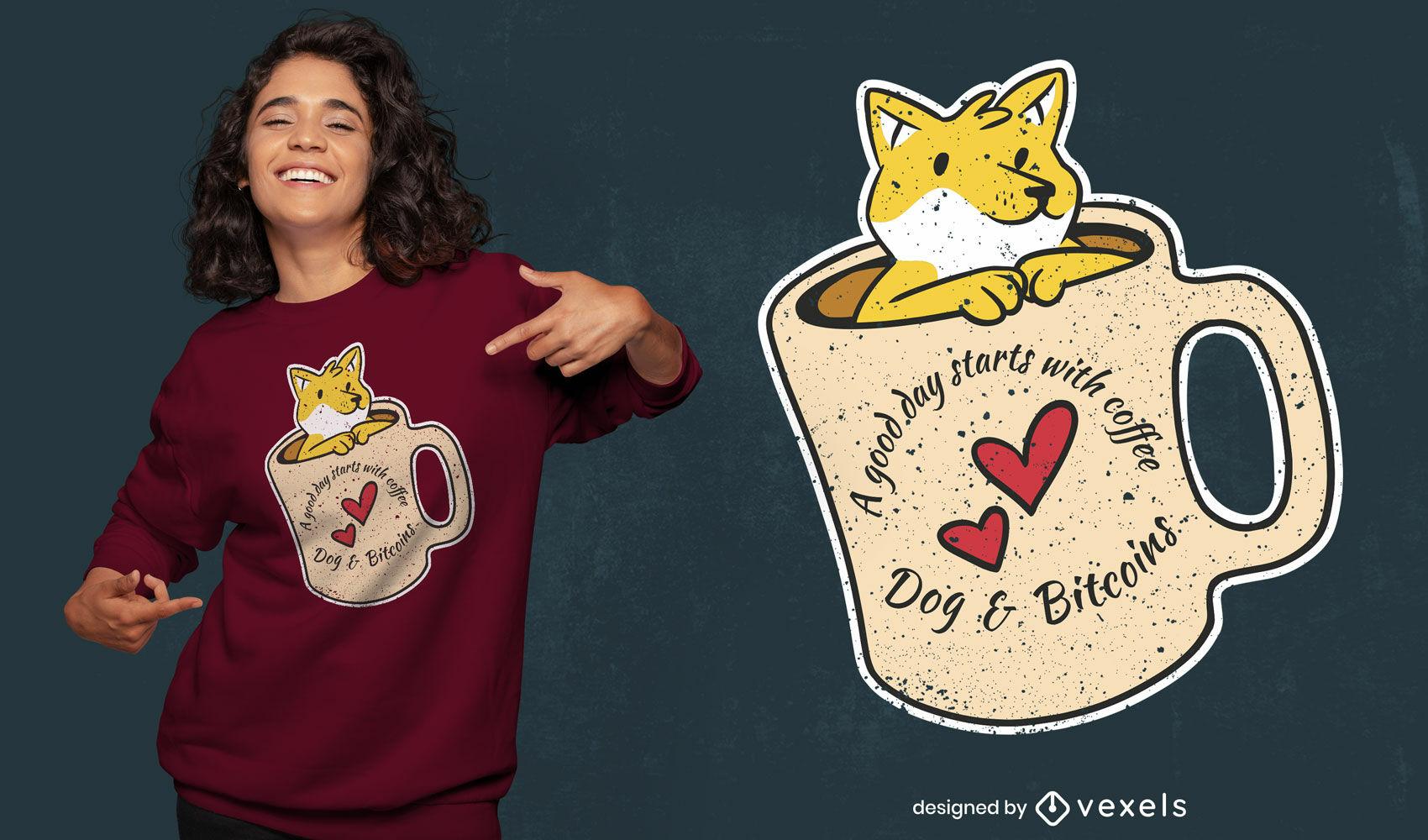 Coffee Dog and Bitcoins t-shirt design
