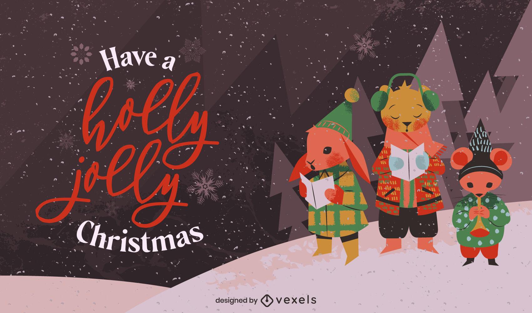 Ilustraci?n de cantantes de villancicos animales de Navidad