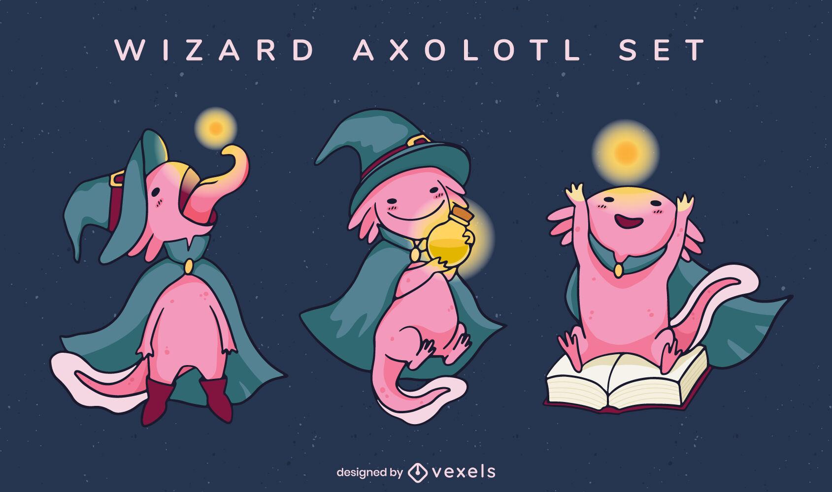 Conjunto de personagens mágicos de animais axolotl assistente