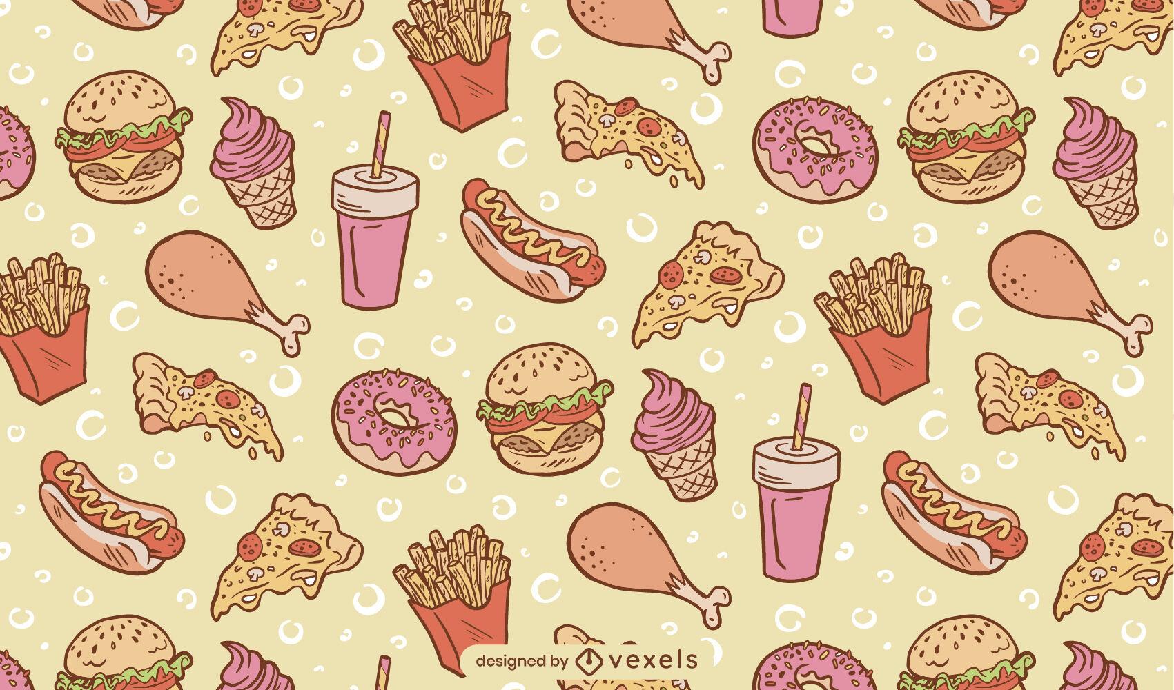 Diseño de patrón de comidas de comida rápida