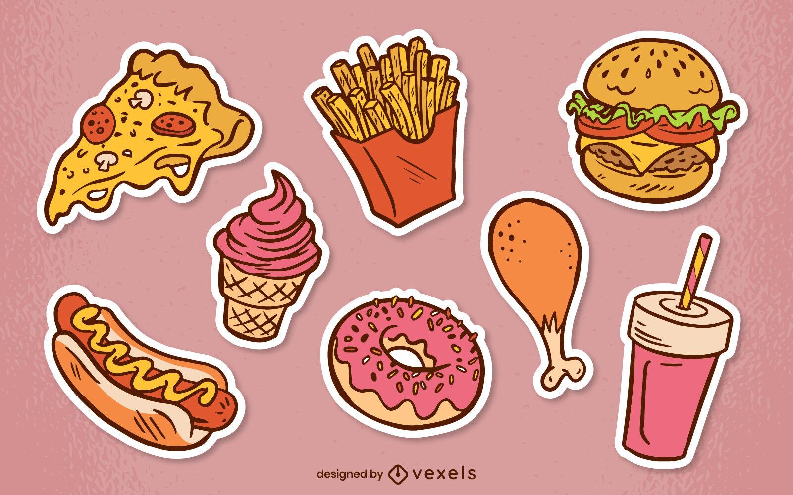 Conjunto de pegatinas de comida deliciosa de comida rápida