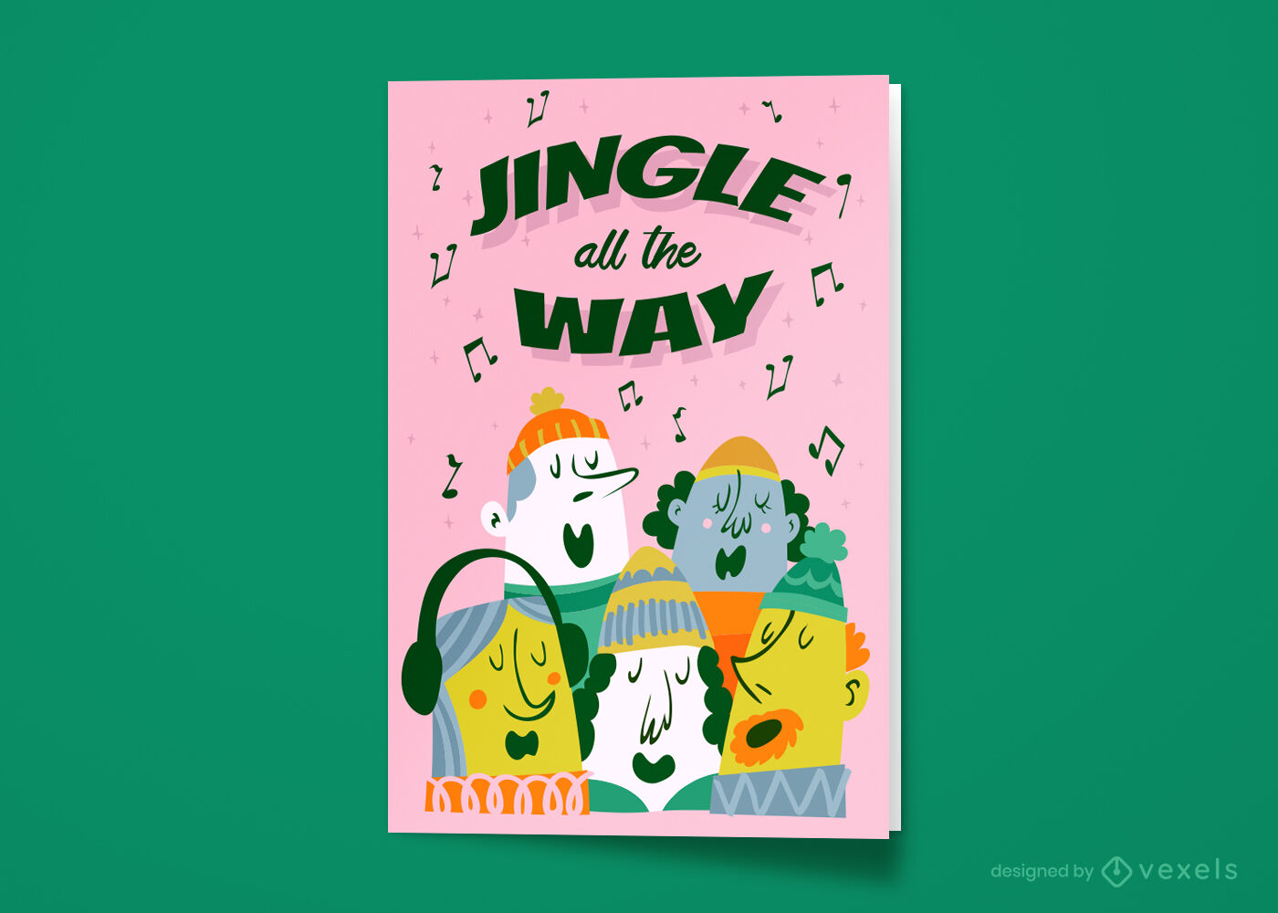 Christmas carol singers greeting card
