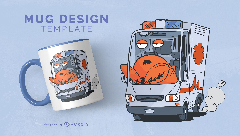 Diseño de taza de conductor de ambulancia de langosta perezosa