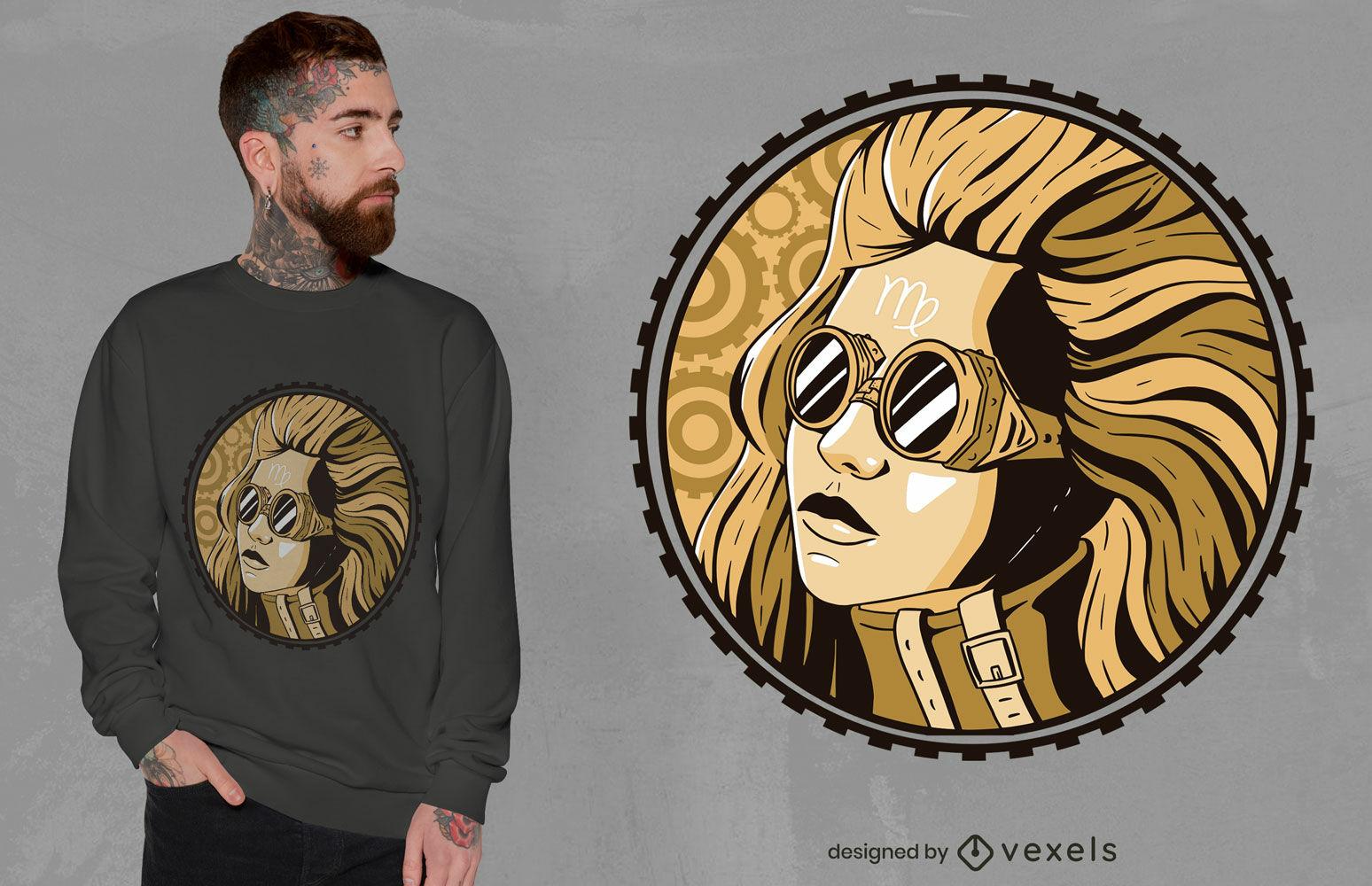 Diseño de camiseta mujer virgo steampunk.