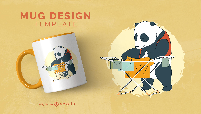 Plantilla de taza de lavander?a con animales de oso panda