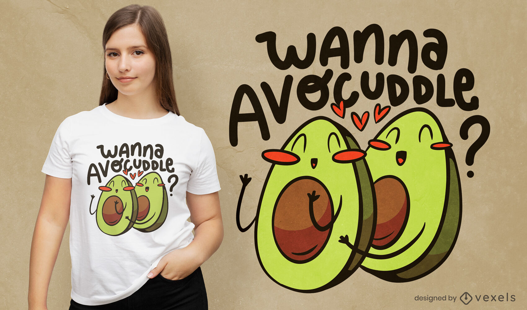 Dise?o de camiseta de comida de dibujos animados de aguacate feliz
