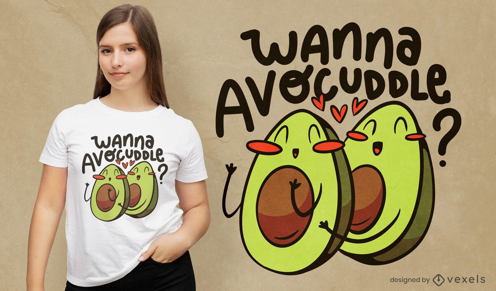 Happy avocado cartoon food t-shirt design