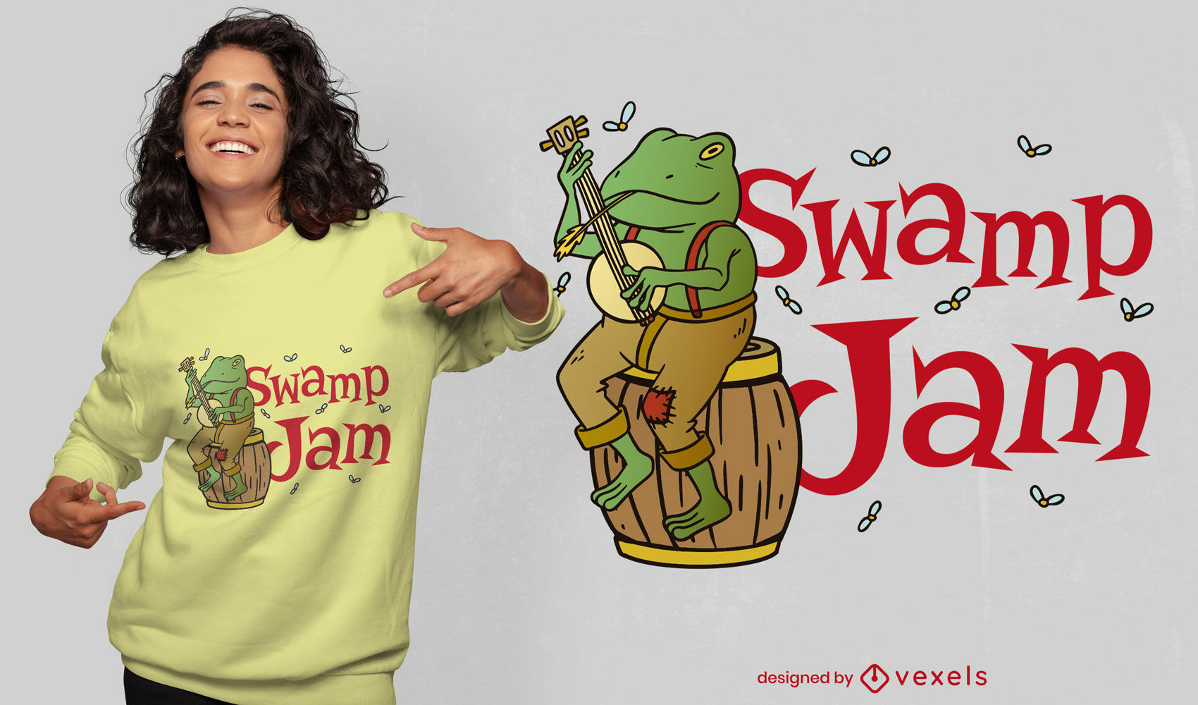 Diseño de camiseta de dibujos animados de rana tocando banjo