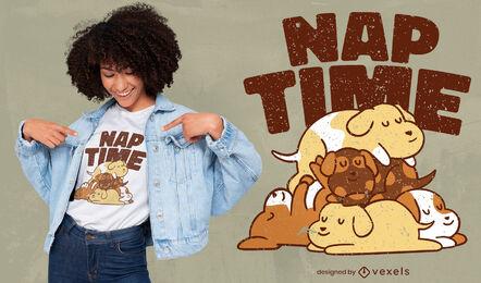 Nap time dogs cartoon t-shirt design