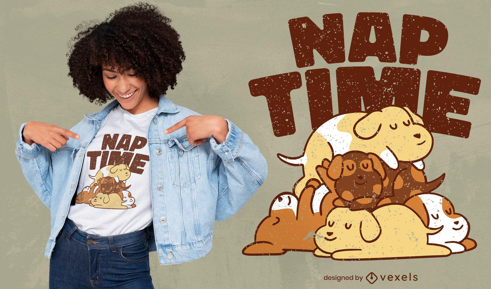 Diseño de camiseta de dibujos animados de perros de la hora de la siesta.