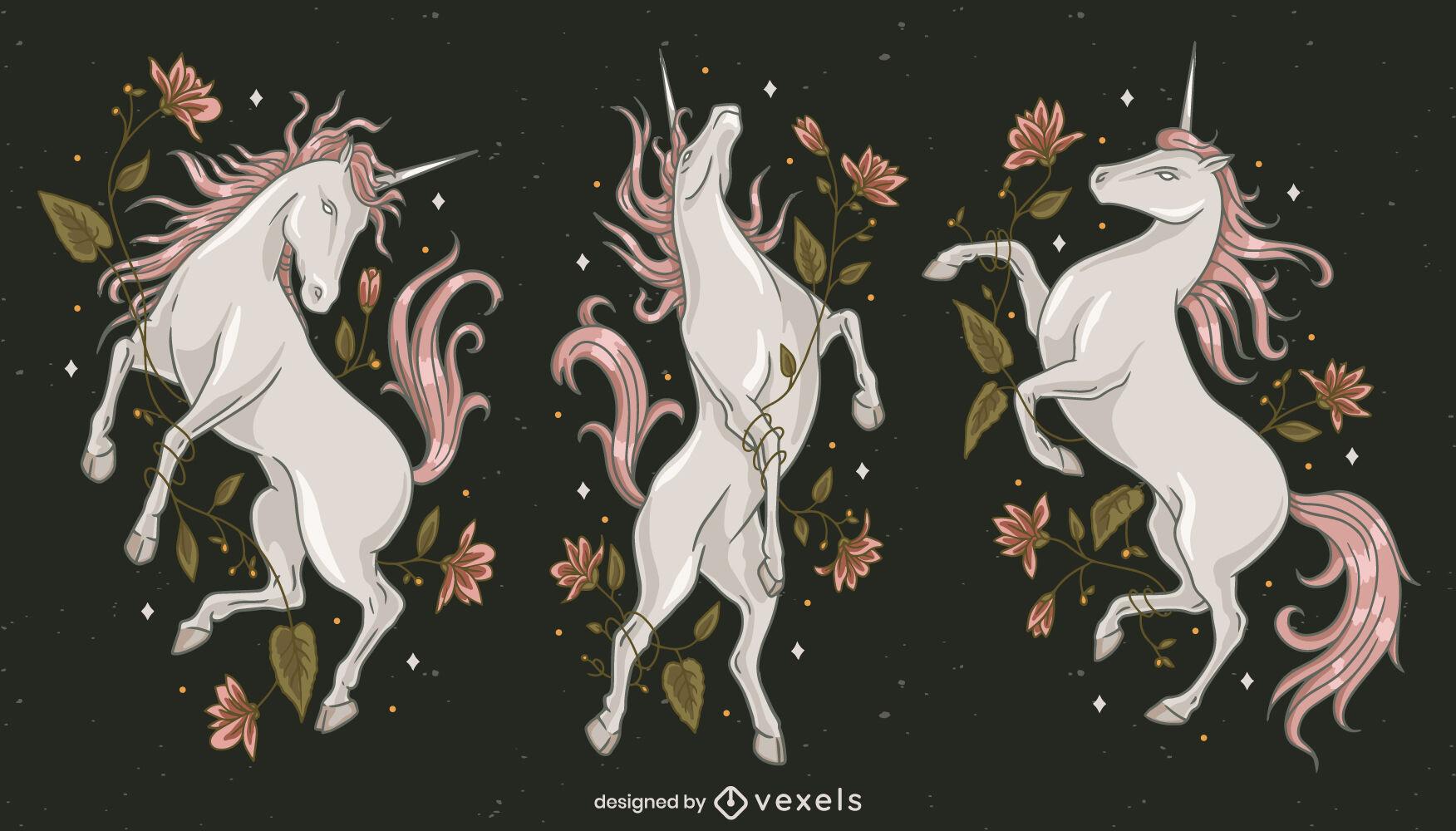 Conjunto de ilustração mágica de criatura unicórnio