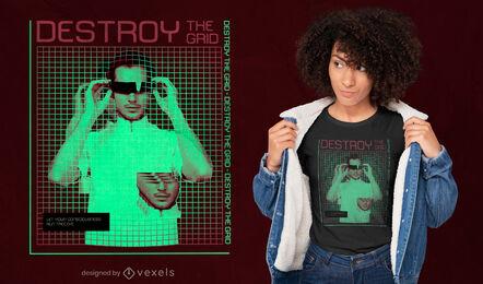 Man in glasses vaporwave grid t-shirt design
