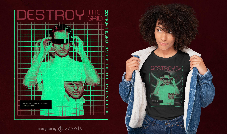 Hombre con gafas diseño de camiseta de rejilla vaporwave