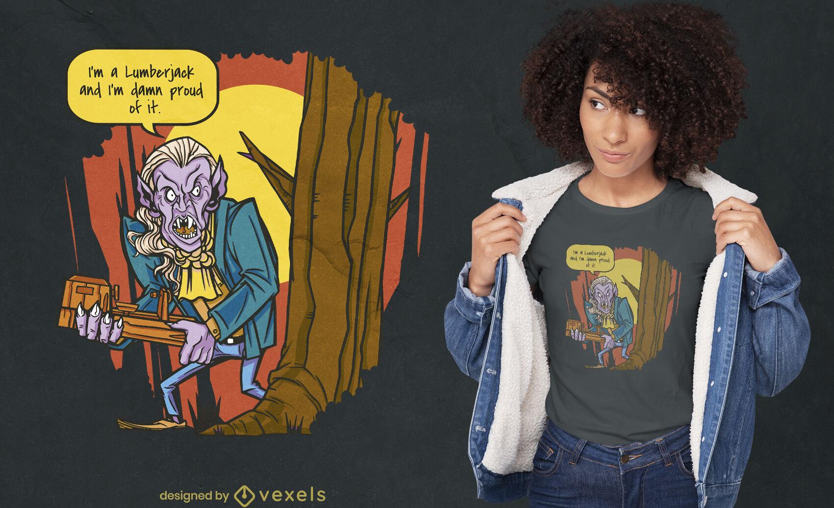 Diseño de camiseta de vampiro leñador bosque