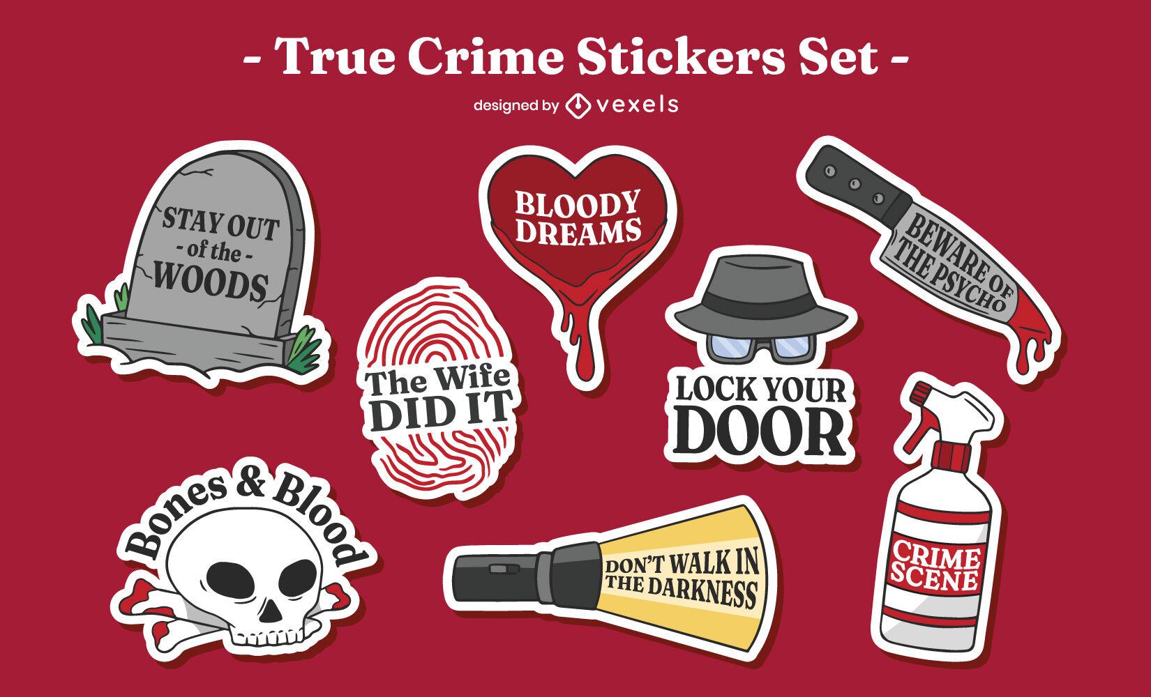 Juego de pegatinas de citas de crímenes verdaderos de Halloween