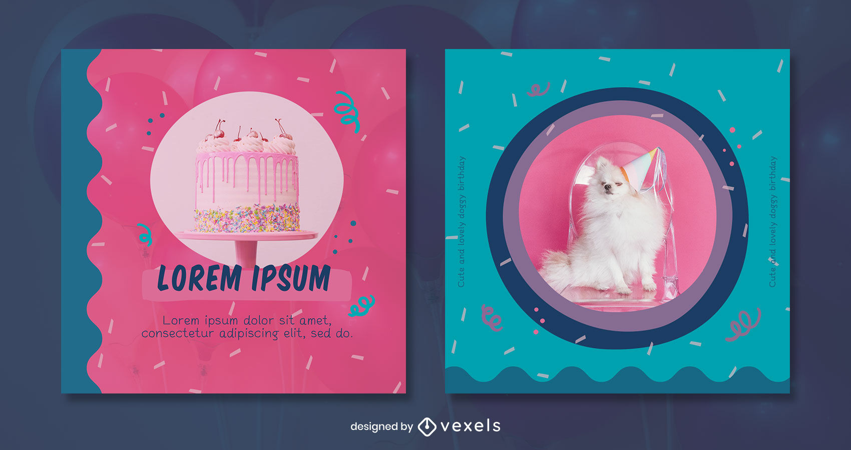 Abstract shapes pink and blue instagram post template