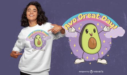 Happy avocado smiling t-shirt design