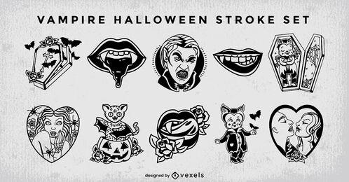 Vampire monster halloween stroke set