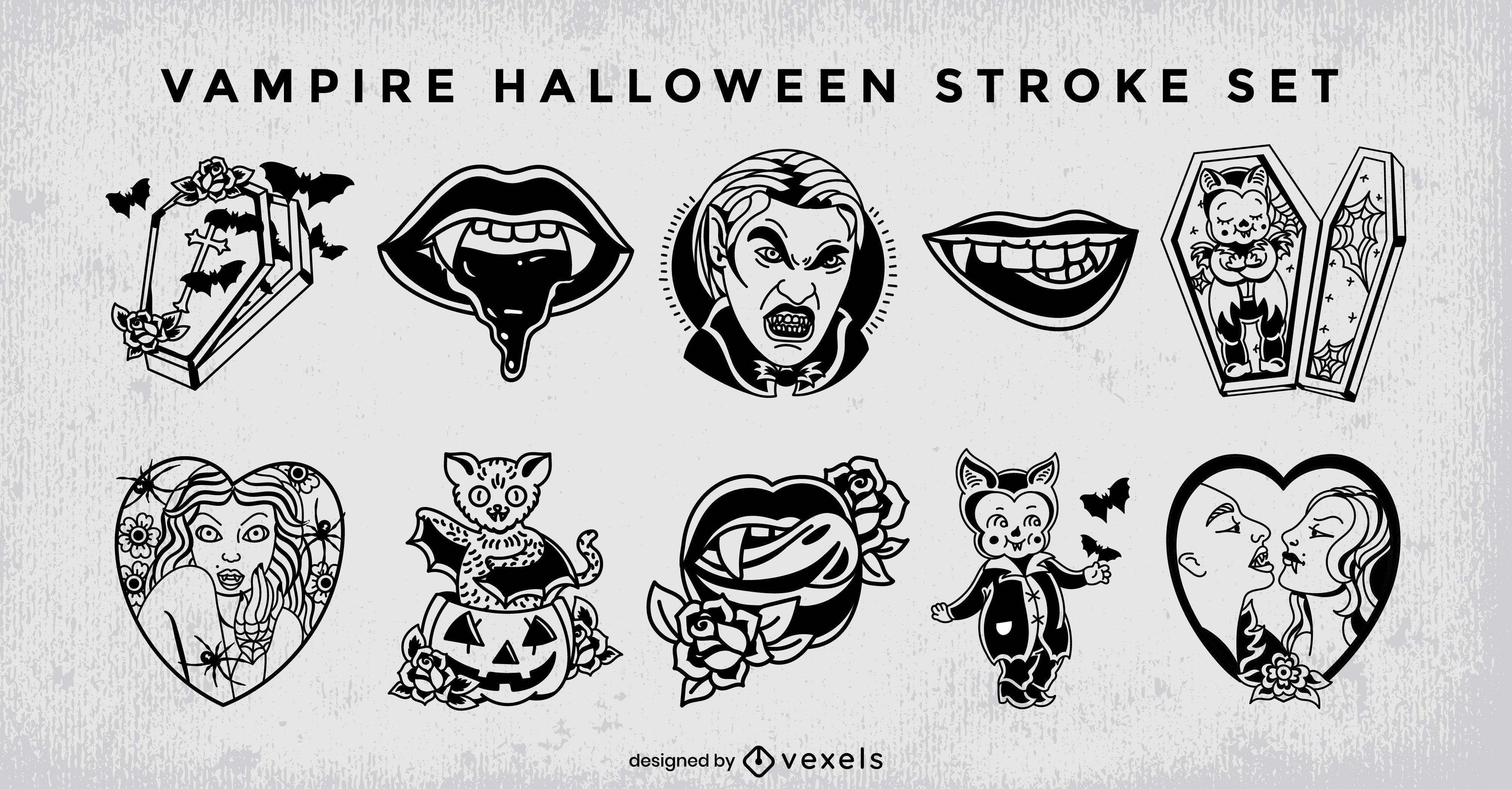 Conjunto de trazos de halloween de monstruo vampiro