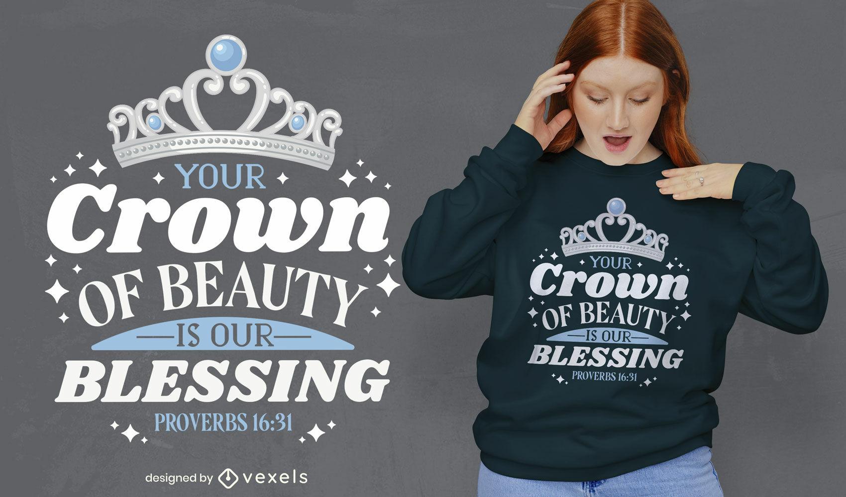 Dise?o de camiseta de corona de cita religiosa