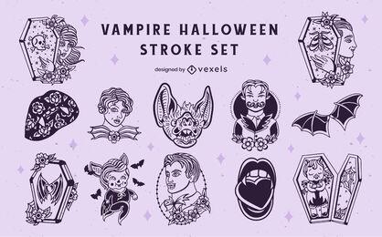 Vampire monsters halloween scary set