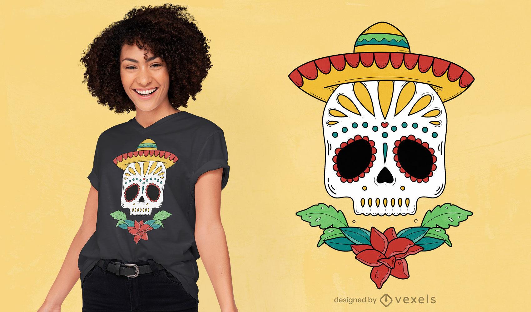 Diseño de camiseta de calavera de azúcar del día de los muertos.