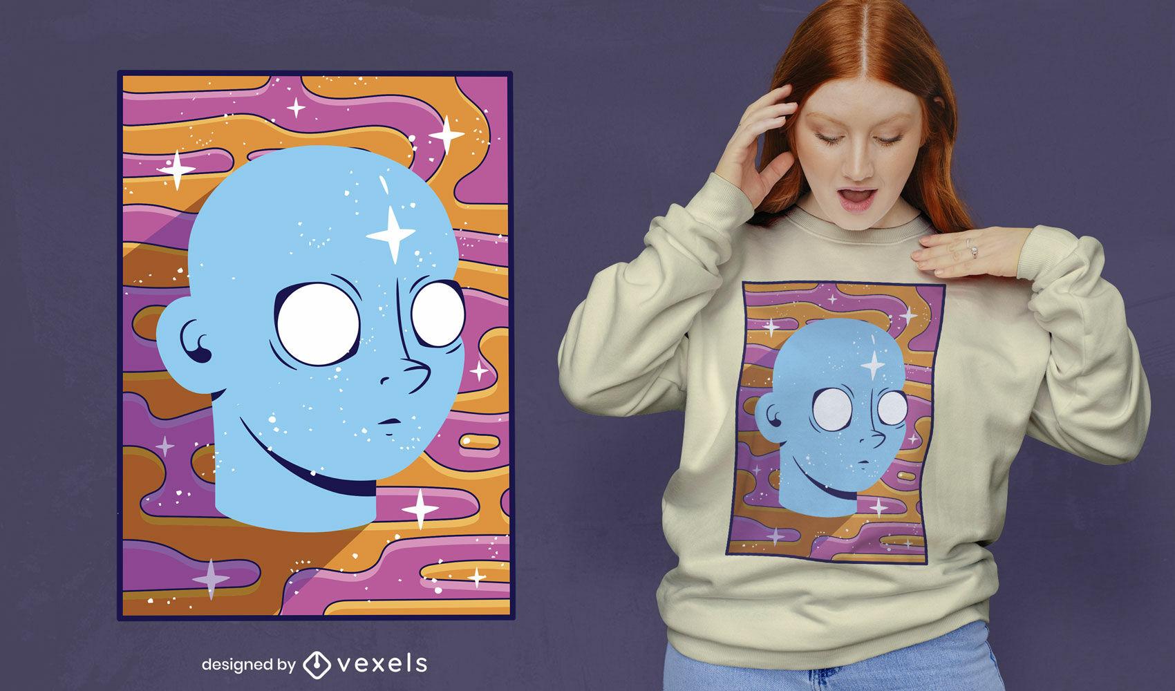 Diseño de camiseta de fondo retro trippy face