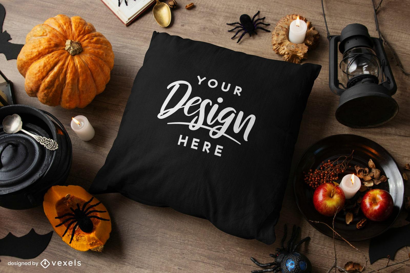 Maquete de Halloween com almofada preta