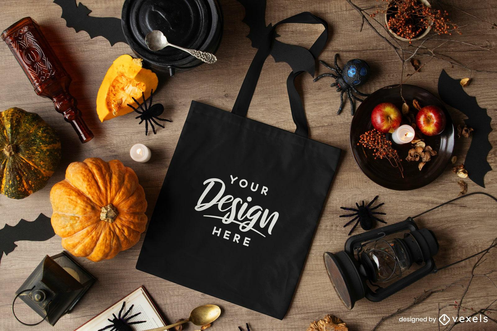 Schwarze Einkaufstasche Halloween Komposition Mockup