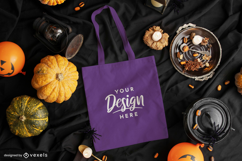 Maquete de composição de halloween de sacola roxa