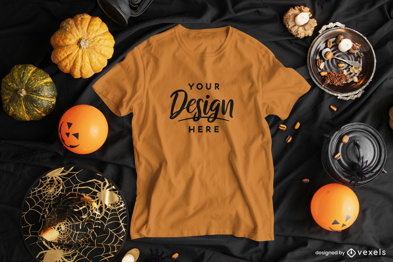 Camiseta en diseño de maqueta de composición de halloween