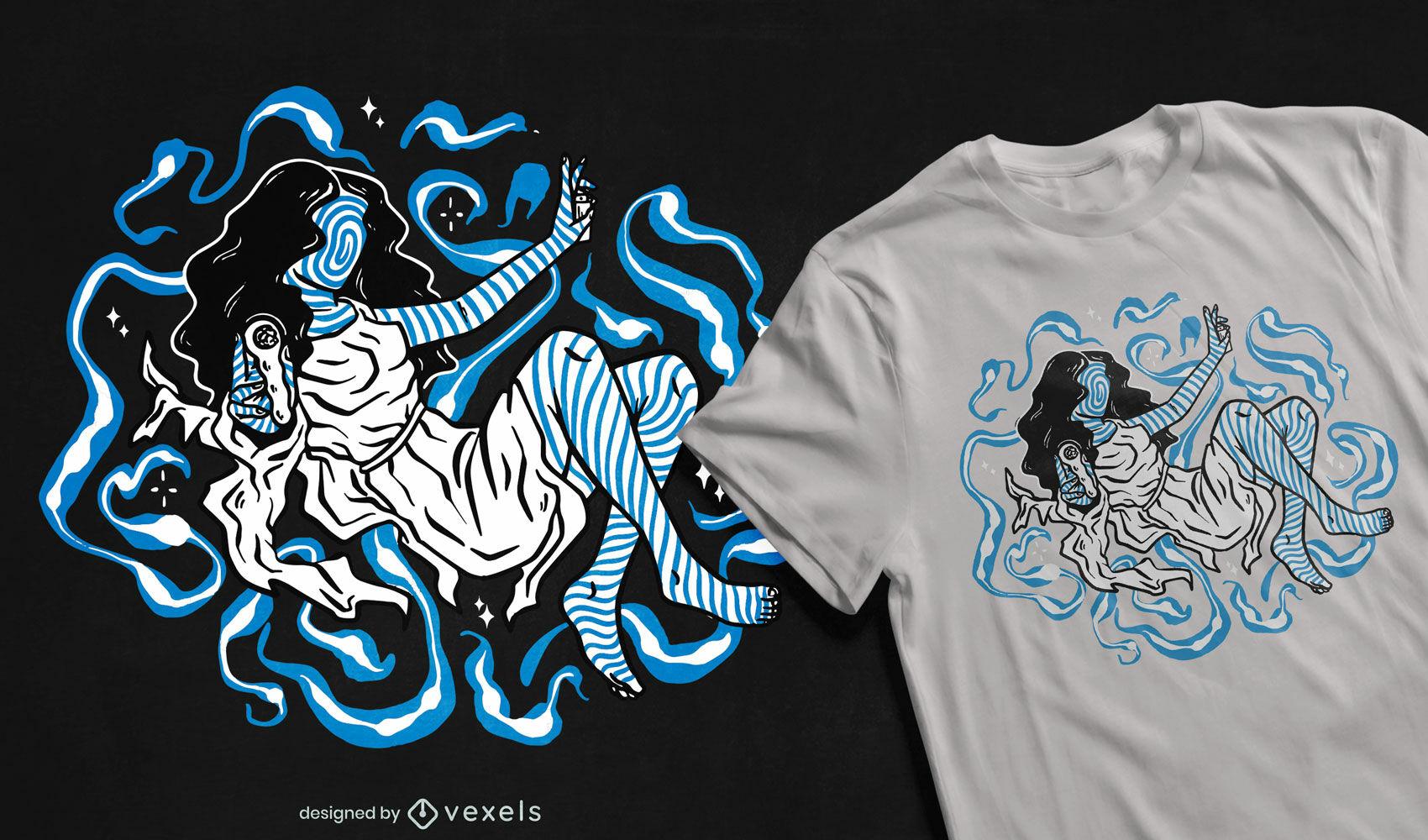 Blaues psychedelisches T-Shirt mit trippiger Frau