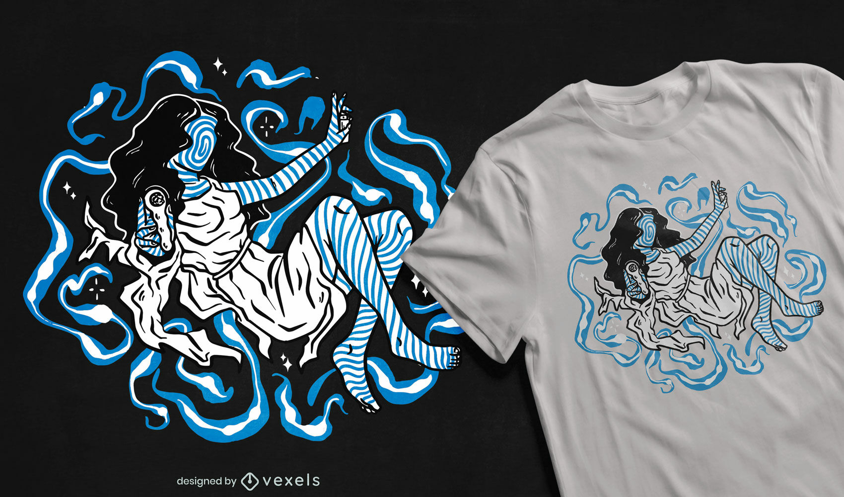Blue trippy woman psychedelic t-shirt design