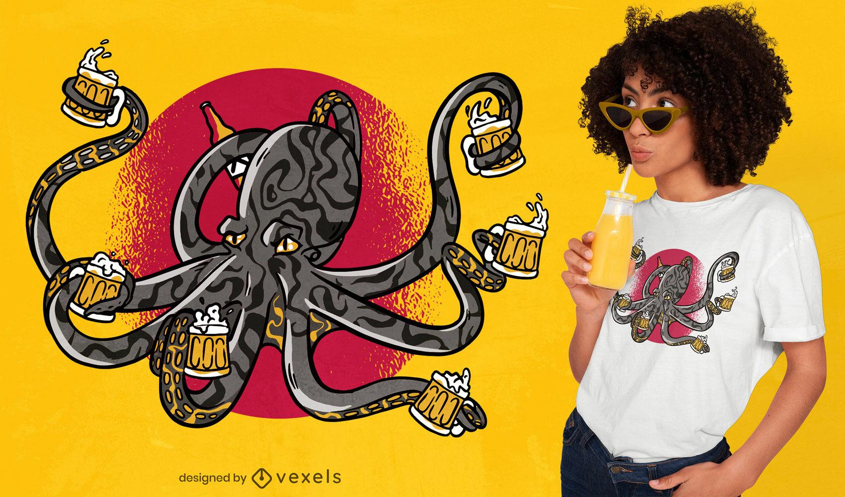 Desenho de camiseta polvo animal marinho bebendo cerveja