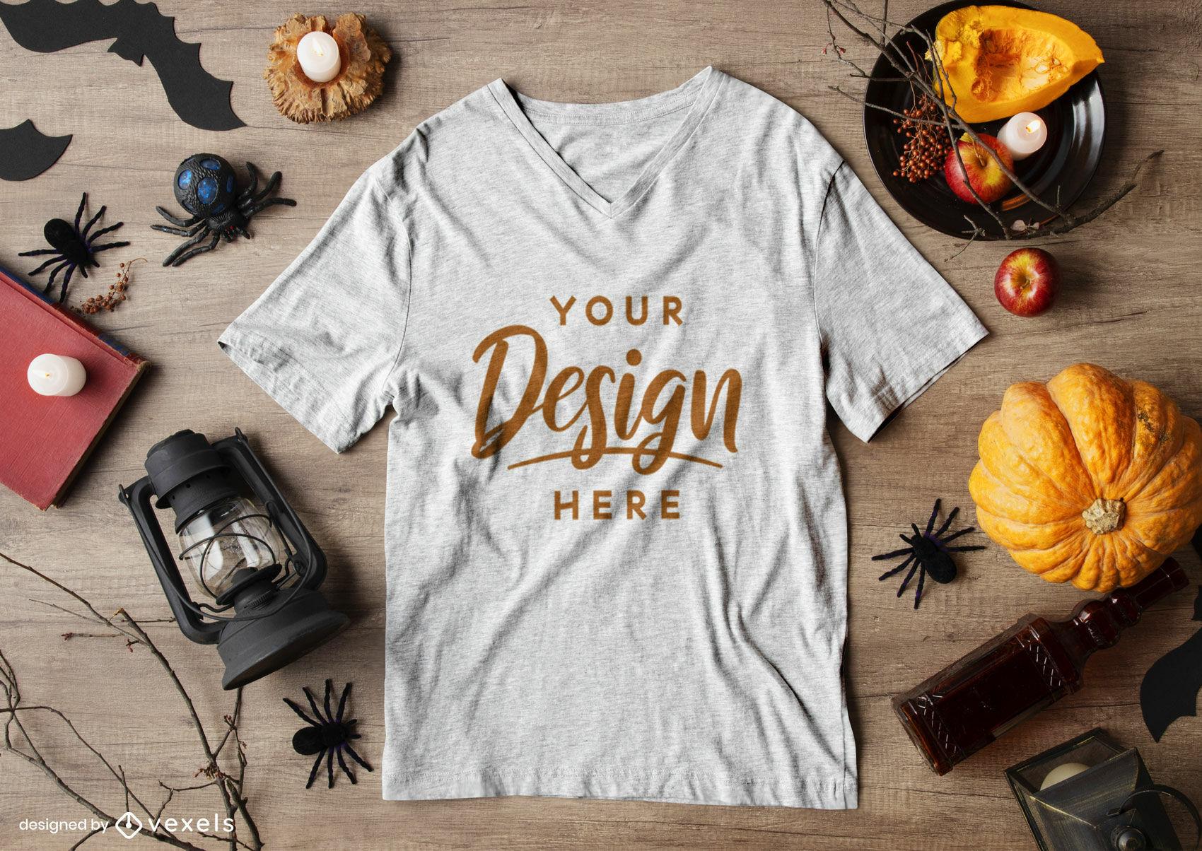Maquete de camiseta branca com composi??o de Halloween